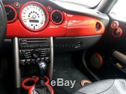 2001-2006 Bmw Mini Cooper/S / One R50 R52 R53 Intérieur Rouge Cadran Bordure Kit