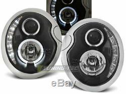 Fényszórók LED DRL megjelenés BMW MINI COOPER R50 R52 R53 Daylight Black LPMC04