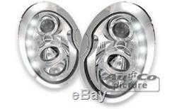 NEUF! Projecteurs Optique Feux Diurnes LED BMW MINI COOPER R50 R52 R53 Chrome FR