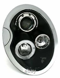 NEUF Projecteurs pour BMW MINI COOPER R50 R52 R53 2001-2006 Angel Eyes Noir FR L