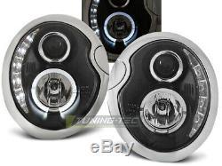 NOU! Faruri cu LED DRL Look BMW MINI COOPER R50 R52 R53 lumina de zi Negru FR LP