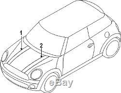 Neuf D'Origine Mini F55 F56 F57 Coupe Capot Bande Noir avec Blanc Rayure
