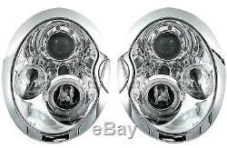 Paire Phares Avant BMW MINI COOPER R50 R52 R53 2001-2006 Yeux D'ange Le Chrome